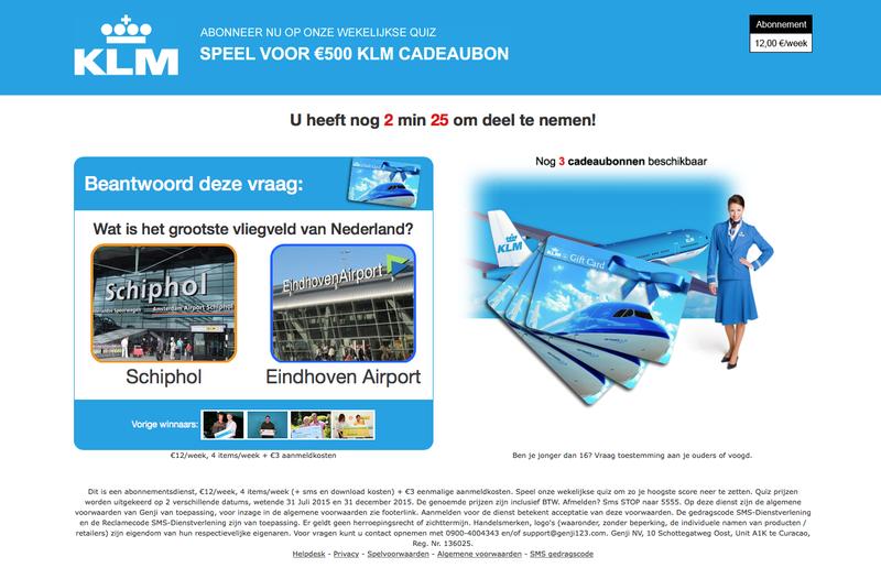 Pas op voor 'winactie' KLM