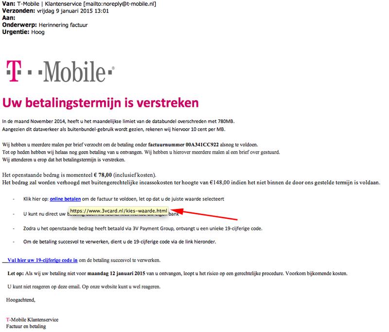 Valse e-mail T-mobile: 'Betalingsherinnering'