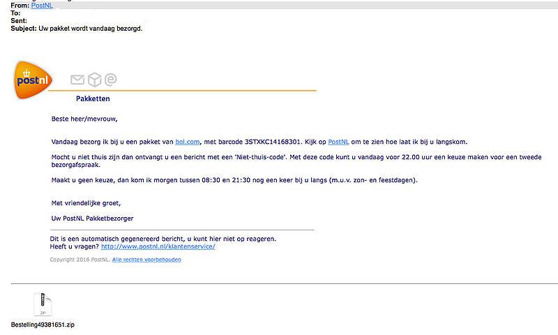 Opnieuw valse e-mails 'PostNL' in omloop