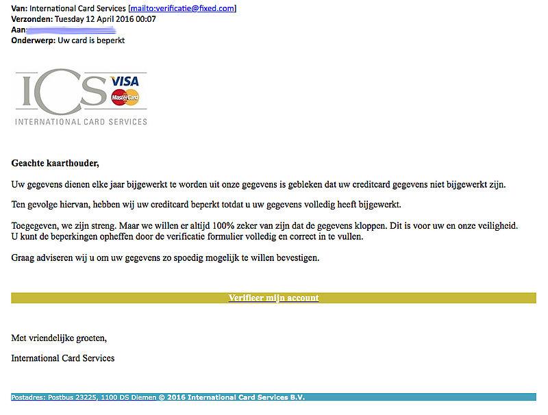 Valse e-mail uit naam van ICS