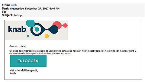 Pas op voor valse e-mail 'Knab' over aanvragen betaalpas