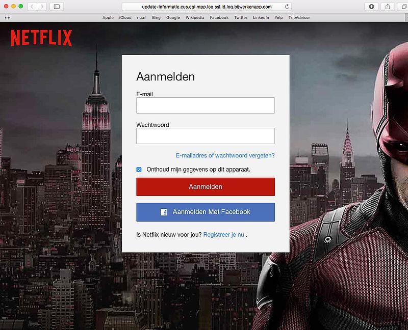 Trap niet in phishingmail 'Netflix'