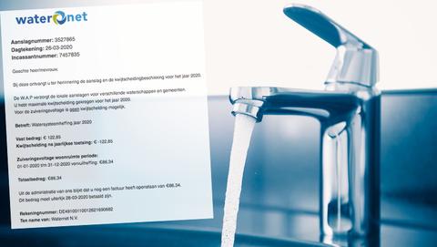 Spookfactuur van Waternet over de watersysteemheffing 2020 in omloop
