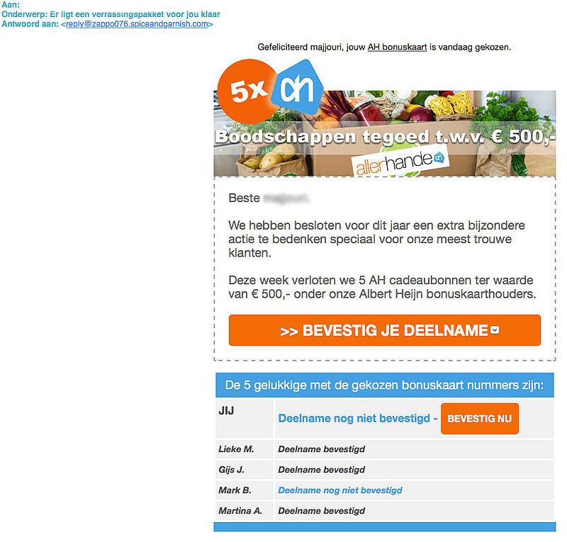 Misleidende e-mail: verrassingspakket 'Albert Heijn'