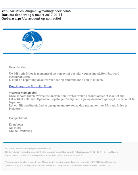Oplichters sturen phishingmails namens 'Air Miles'