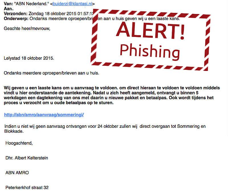 Valse e-mail van 'ABN Nederland'