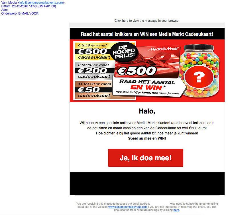 Misleidende winactie: knikkers raden bij 'Media Markt'