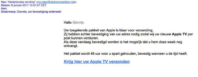 Criminelen sturen misleidende e-mail 'Apple'