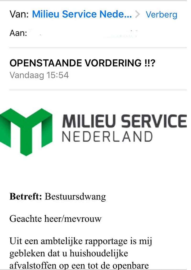 Milieu Service Nederland waarschuwt voor phishing
