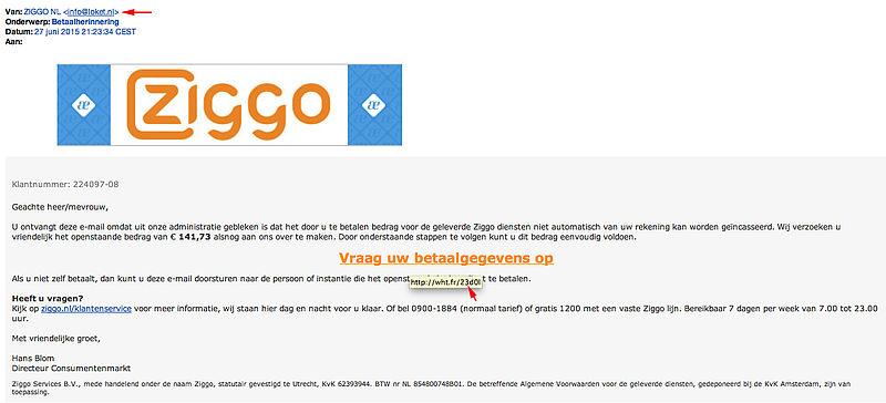 Valse mail 'Ziggo' in omloop