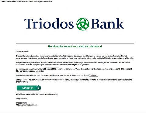 Pas op voor phishingmail uit naam van Triodos Bank