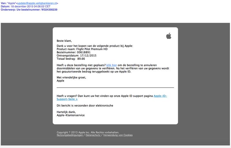 Valse mail 'Apple': 'Uw bestelnummer'