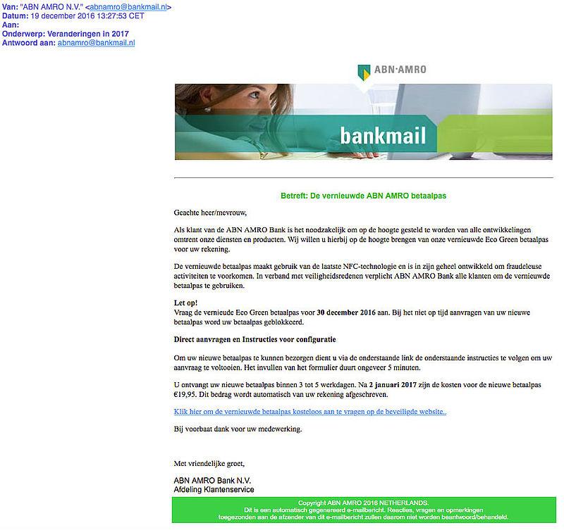 Valse e-mail 'ABN AMRO': vernieuwde ECO Green betaalpas
