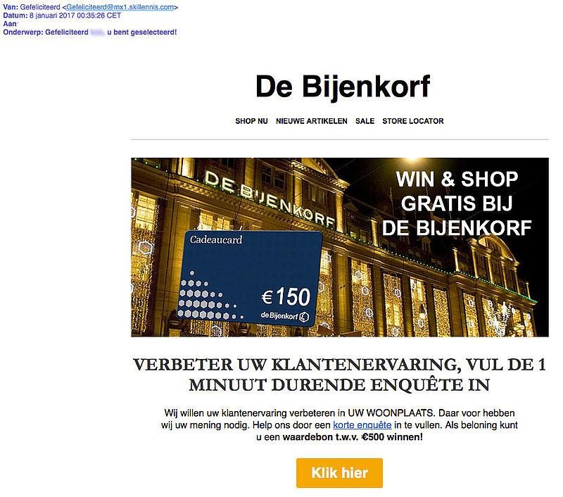 'Bijenkorf' stuurt valse e-mail over winnen cadeaukaart