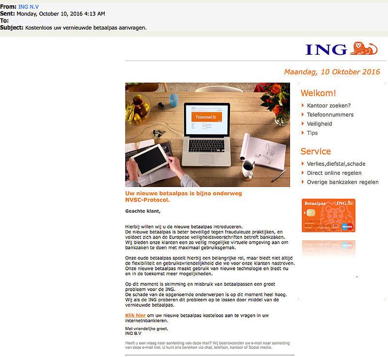 E-mail nieuwe betaalpas 'ING' is phishing