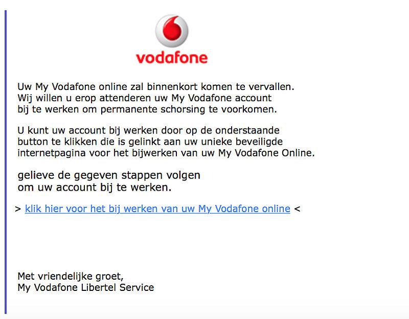 Valse e-mail verstuurd uit naam van Vodafone