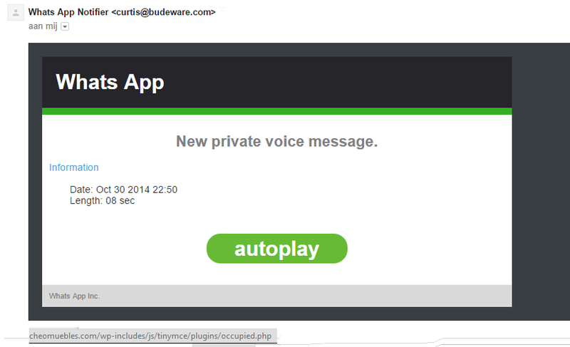 Malware e-mail WhatsApp: 'New private voice message'