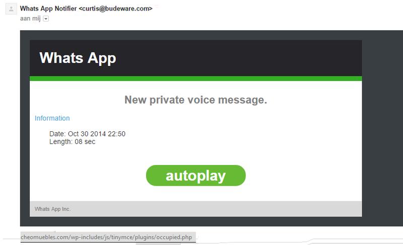 Malware e-mail WhatsApp: 'New private voice message'