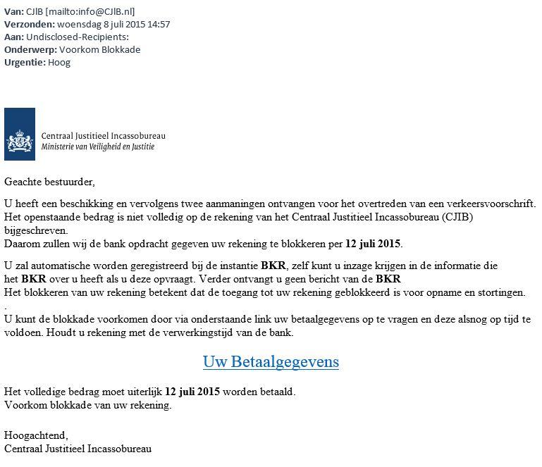 Opnieuw valse mail van 'CJIB' in omloop