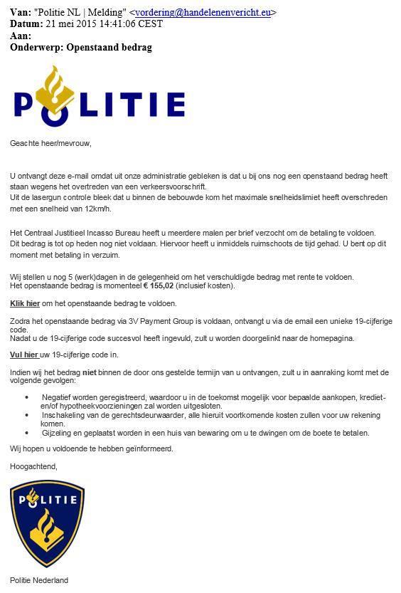 Politie waarschuwt voor nepboetes