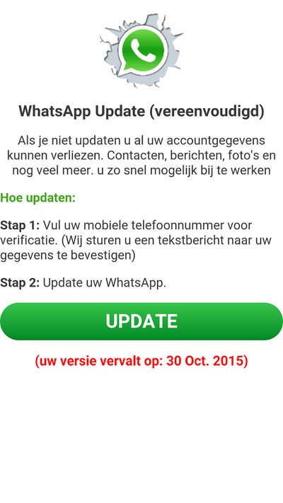 Pas op voor melding over verlopen WhatsApp