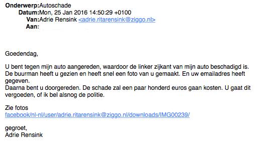 Pas op voor malware in e-mail over 'aangifte'!
