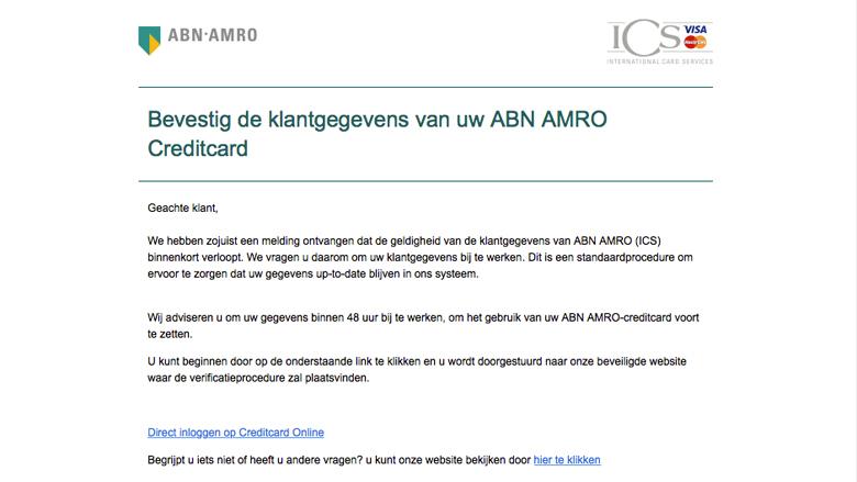 Let op! 'ABN AMRO klantgegevens' e-mail is vals