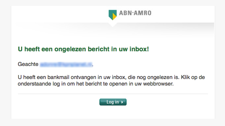 Pas op! 'ABN AMRO' e-mail is phishingmail