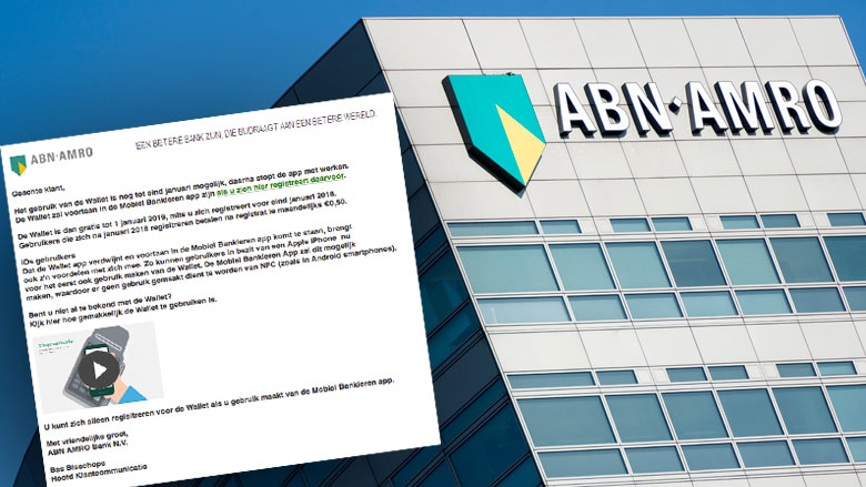 Phishingmail ABN AMRO: 'De Wallet stopt in 2018'