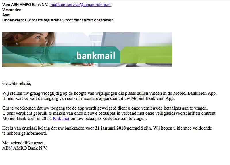 Let op: opnieuw meldingen phishingmail 'ABN AMRO'