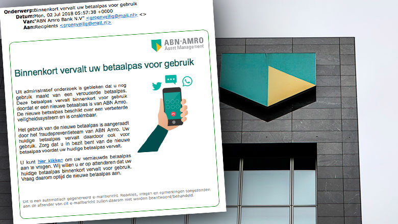 Valse e-mail ABN AMRO over vervallen betaalpas