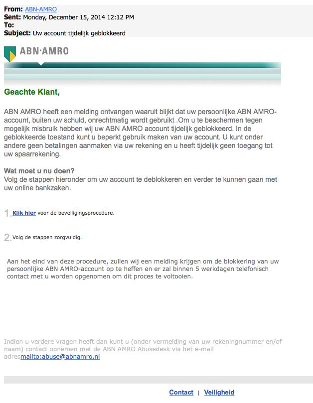Nepmail ABN AMRO: 'Uw account is geblokkeerd'