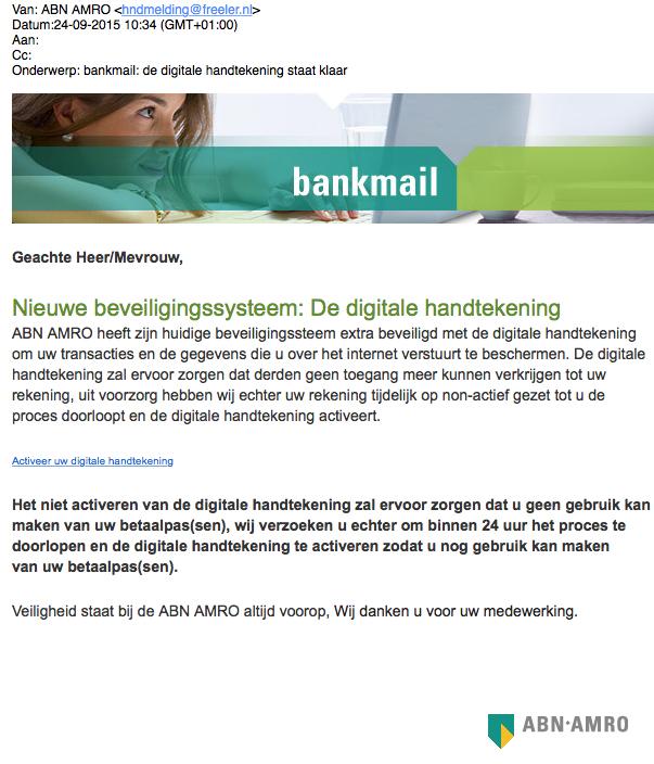 Mail ABN-AMRO over digitale handtekening is nep