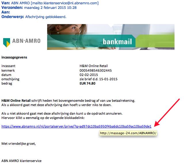 Valse mail ABN AMRO: 'afschrijving H&M'