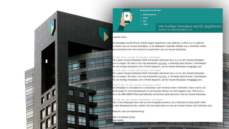Valse e-mail ABN AMRO: 'Uw betaalpas wordt opgeheven'