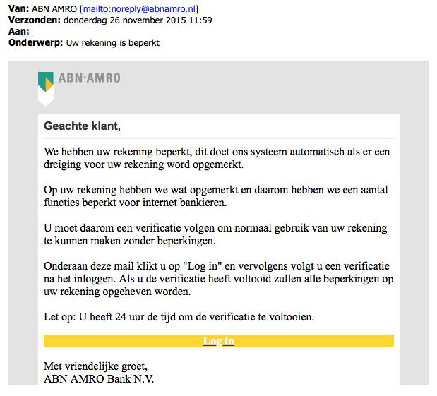 Valse e-mail ABN AMRO: 'contactloze betaalpas aanvragen'