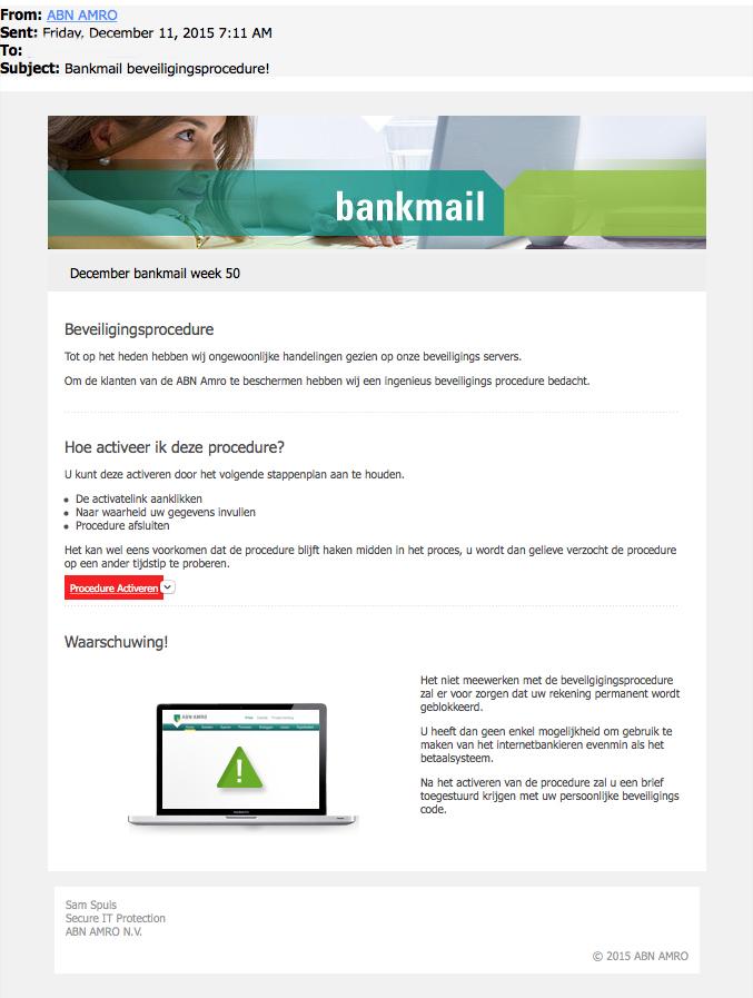Pas op voor 'vermomde' bankpas-phishingmail