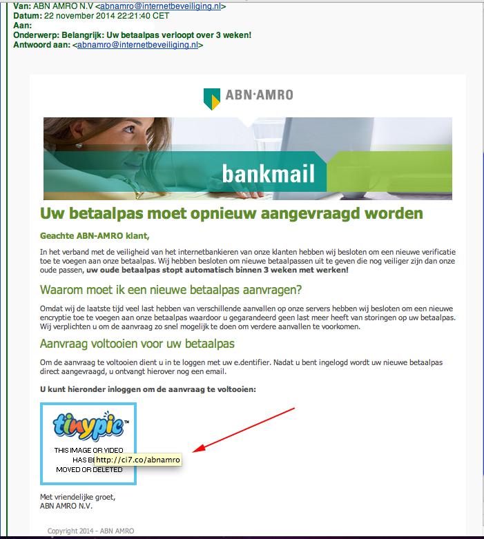Phishing mail: 'ABN AMRO aanvraag nieuwe bankpas'