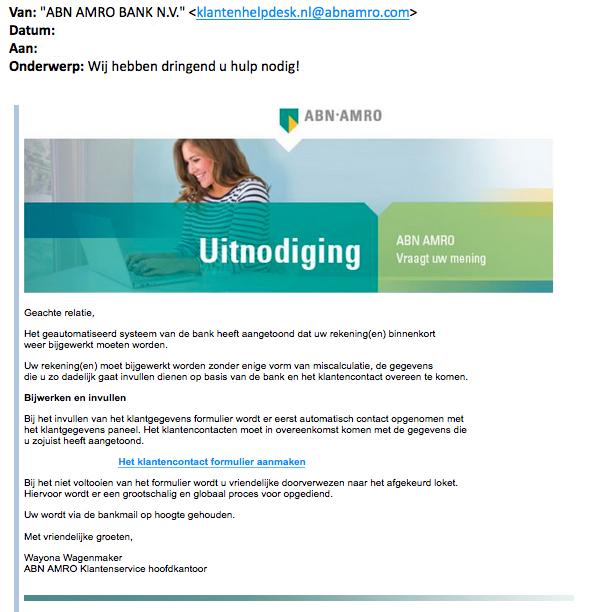 Pas op voor e-mail 'ABN AMRO' over bijwerken gegevens