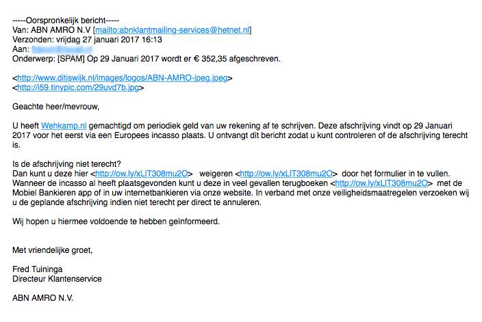 Valse e-mail 'ABN AMRO': afschrijving Wehkamp