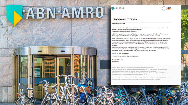 Aankondiging 'ABN AMRO' over creditcard is phishing