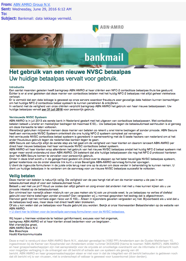 'Bankmail: data lekkage vermeld' is nep