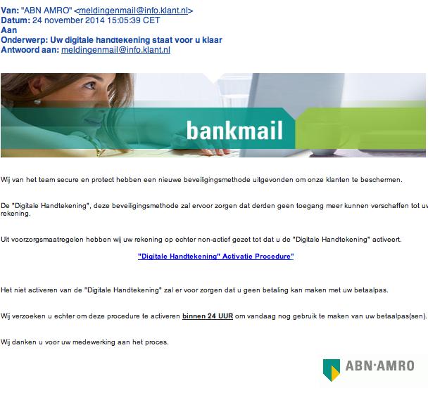 Valse e-mail ABN: 'digitale handtekening'