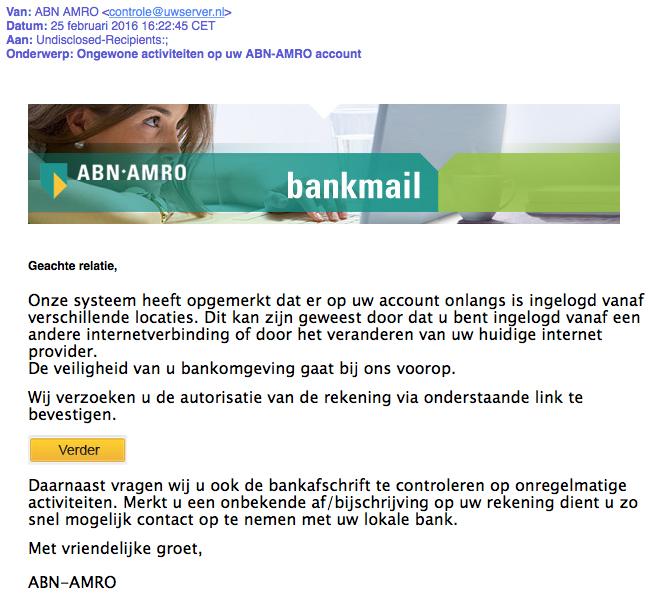 Valse e-mail namens 'ABN-AMRO'