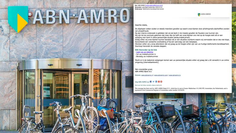 Pas op voor valse mail 'ABN AMRO' over toevoegen telefoonnummer