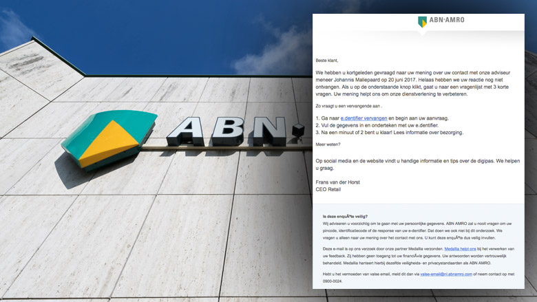 Verwarrende e-mail 'ABN AMRO' is phishing