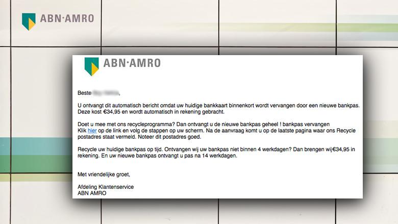Afzender e-mail 'ABN AMRO' wil jouw rekening plunderen