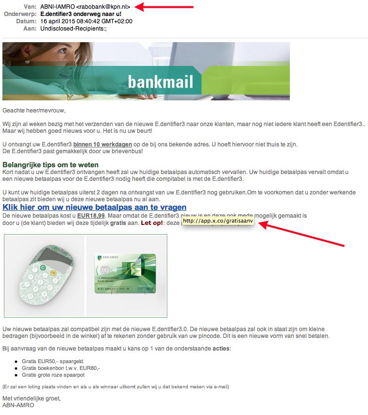 Valse e-mail ABN AMRO: E.dentifier3 onderweg