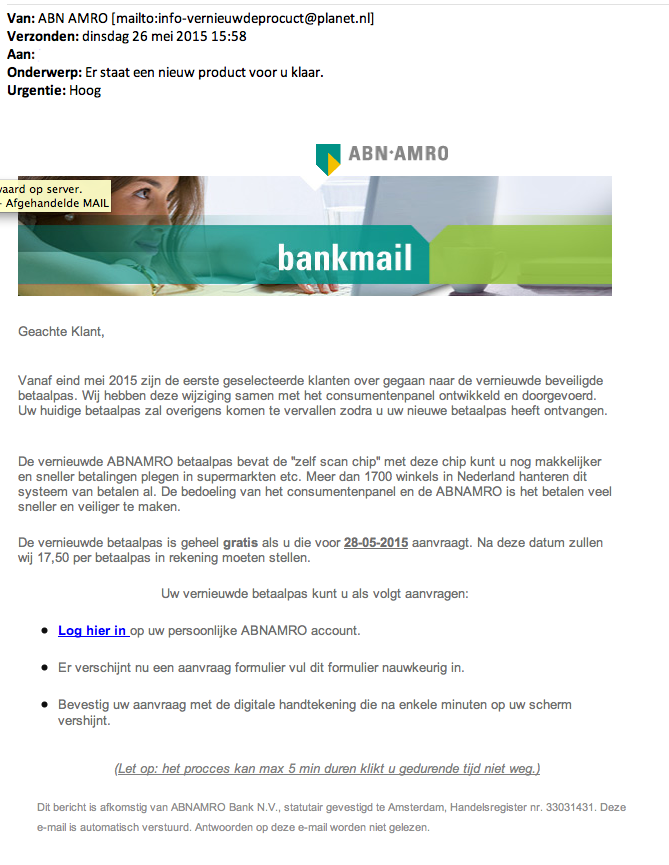Valse mail ABN AMRO: 'Nieuw product'