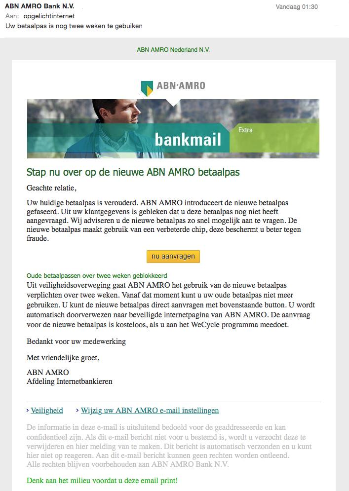 Phishing: 'nieuwe ABN AMRO betaalpas'